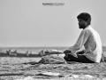 kerala beach seller bw