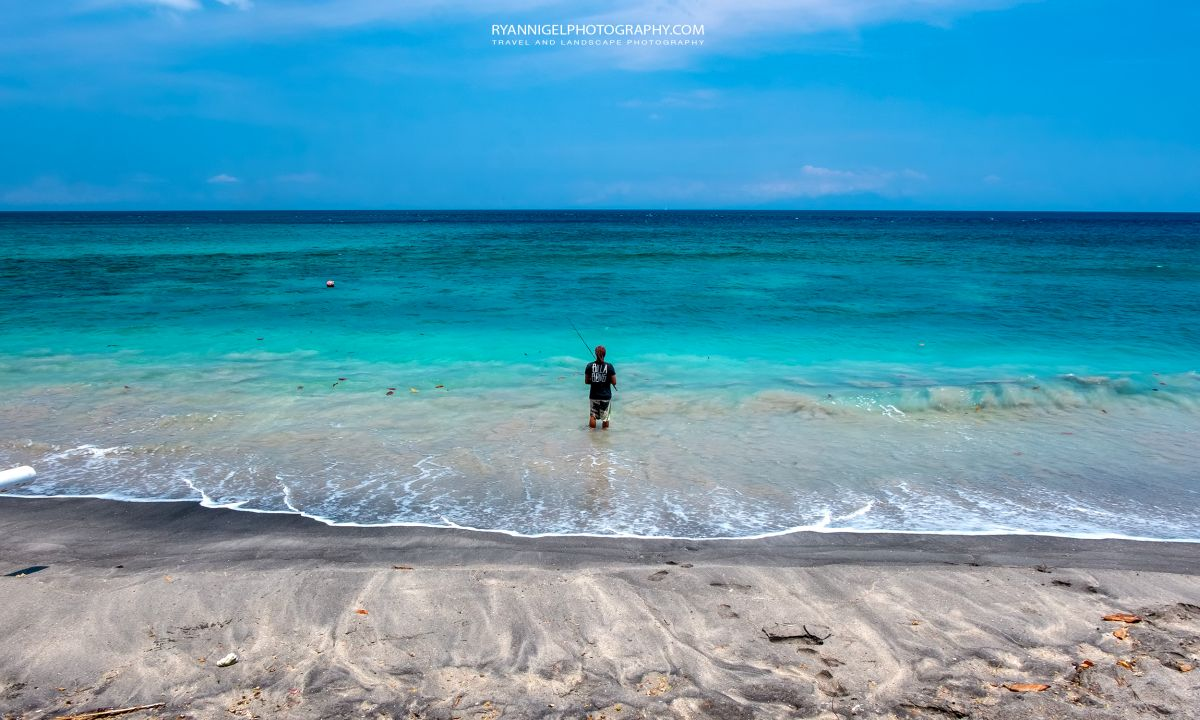 Lonely fisherman at Mangsit Beach West Lombok