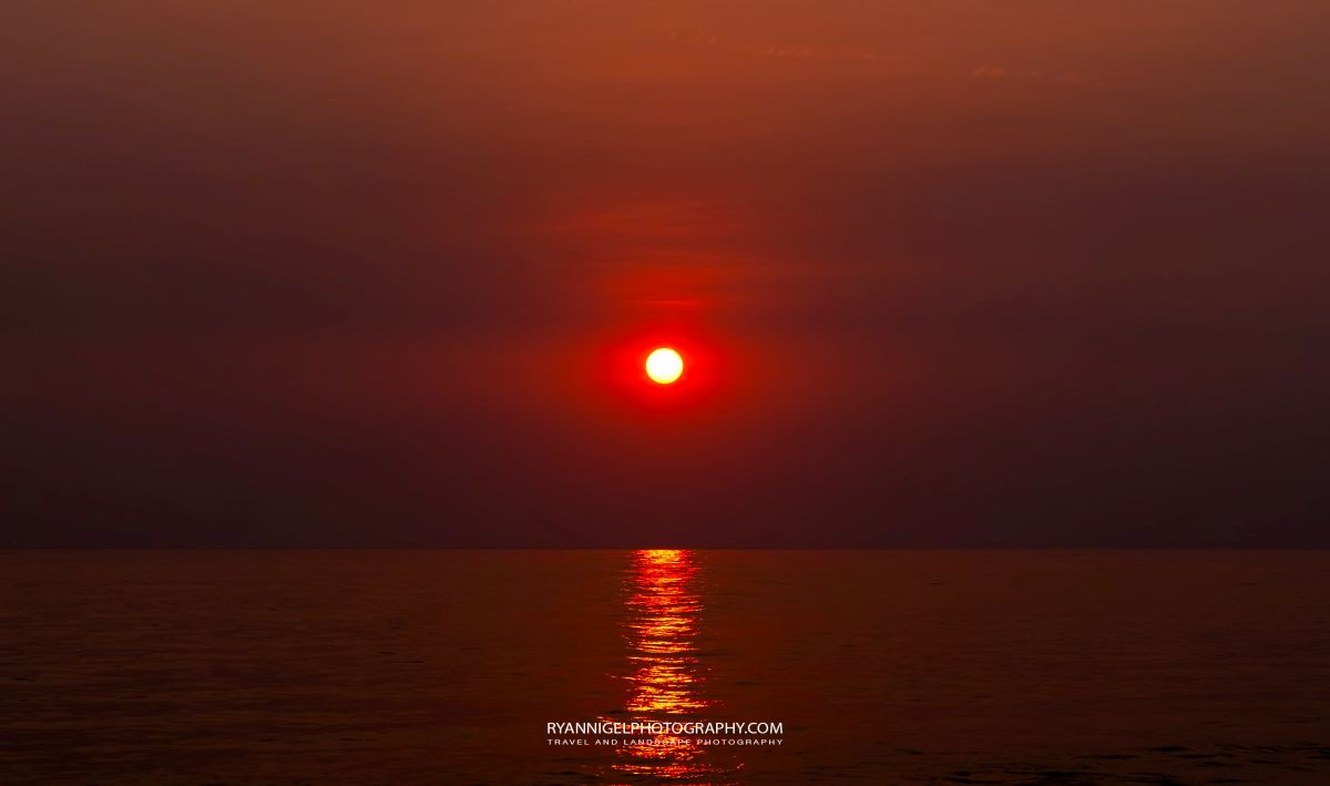 Red Sunset seen from Karandangan Beach West Lombok