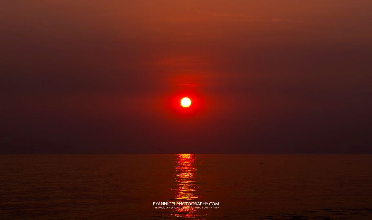 Red Sunset seen from Karandangan Beach West Lombok